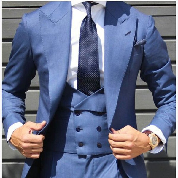 2018 Última Light Blue Chaleco de doble botonadura Hombres Traje Esmoquin Slim Fit Flaco 3 Piezas Custom Groom mens trajes Blazer Masculino