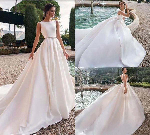 Cheap Satin Wedding Dresses Sexy Backless Jewel Neck Sweep Train Beach Wedding Gowns Belt Crystal Beaded Plus Size Bohemian Bridal Dress