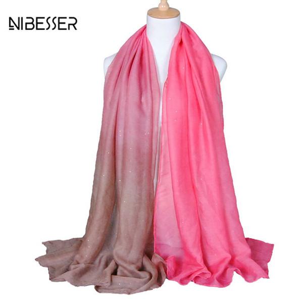 NIBESSER Casual Women Silk Scarfs Fashion Spring Scarves Print flowers Shawl Summer Shawls Long Wrap For Beach