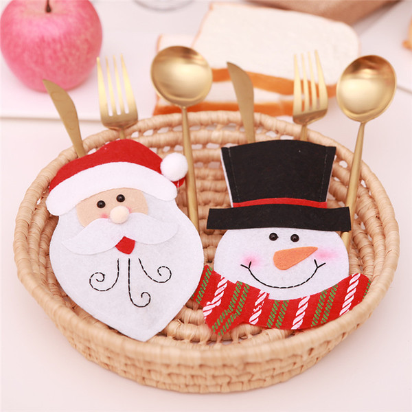 Christmas Tableware Holder Santa Claus Snowman Bags Fork Spoon Pocket Knife Set Cover For Dinning Table Decor