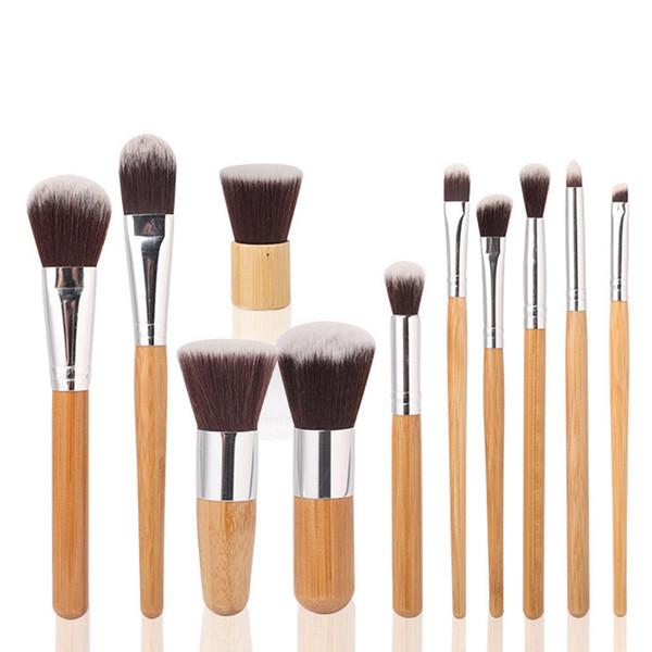 11pcs / set Spazzole di trucco di bambù strumento Cipria Cosmetici Eyeliner Fondotinta correttore Kit di strumenti pennello FFA694