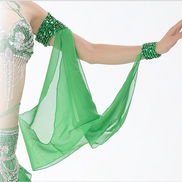 11 Colors Wholesale Belly Dance Costume Accessories 1 Piece Arm Sleeves Wrist Adjustable Chiffon Sleeve Sequins Armbands