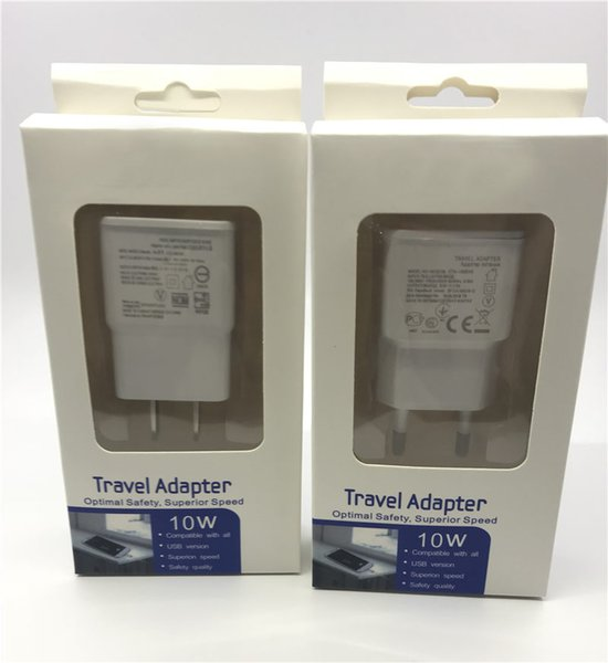 Reale volle 5V 2A USB Wall Charger EU US-Stecker-Adapter mit Kleinpaketkasten für Samsung S5 S6 S7 S8 huawei
