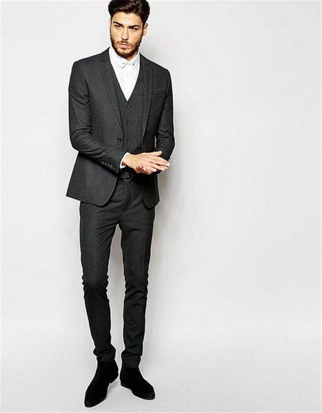 3 Pieces Dark Grey Suits 2018 Elegant Men Suits For Work Wear Formal Prom Suits Groomsmen Wedding Tuxedos (Coat+Pants+Vest+Tie)