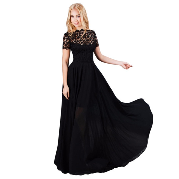 Summer Dress Women Maxi Dress Chiffon Lace O-Neck Women Long Dresses Casual Elegant Short Sleeve Dress Summer Style