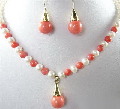 White Pearl & Pink Coral Color Shell Pearl 18KGP Pendant Necklace Earrings Set
