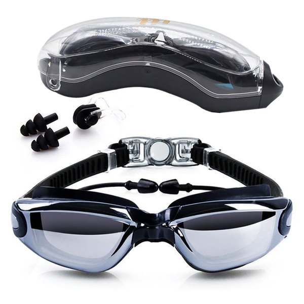 Swimming Goggles Anti-Fog 100% UV Protection Swim Glasses with Free Earplugs &Nose clips Case for Adult Men Women Kids