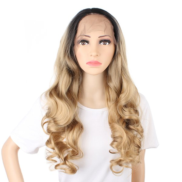 Ombre Blonde Synthetic Wig Front Lace Wig Wavy Honey Blonde Wigs Body Wave #1B/26 for Women Medium Length Heat Resistant Wig