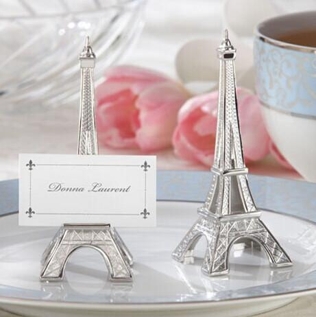 """Free shipping 20pcs/lot wedding favor""""Evening in Paris"""" Eiffel Tower Silver-Finish Place Card/Holder"""