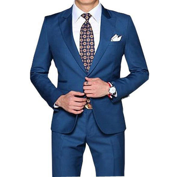 New Arrival Straight Blue Men Tuxedos Peaked Lapel Wedding Suit For Men 2 Pieces Slim Fit For Wedding Men Suits (Jacket+pants)