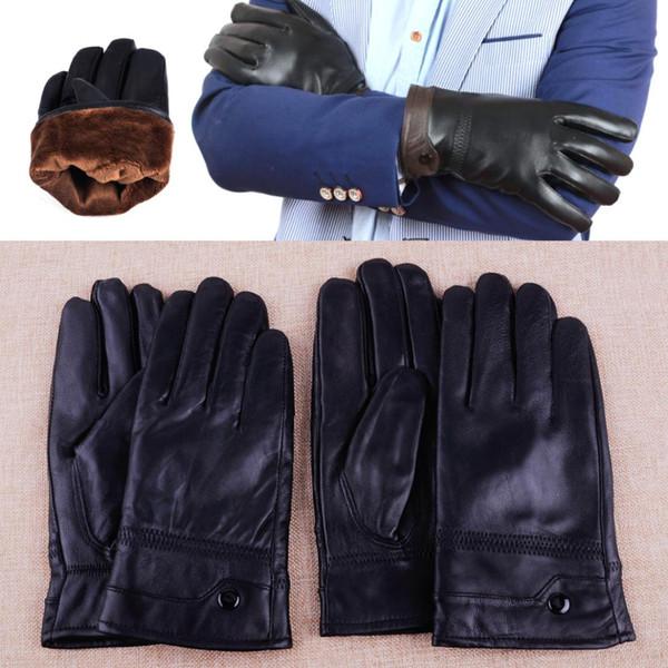 Black Thicker Warm Genuine Leather Gloves Men Winter Classic Genuine Sheepskin Driving Ridding Men's Gloves Mittens