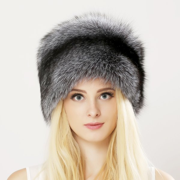 Inverno Unisex Genuine Fox Fur Hat Reale berretto di pelliccia di procione con borsetta in pelle naturale spessa caldo cappuccio russo