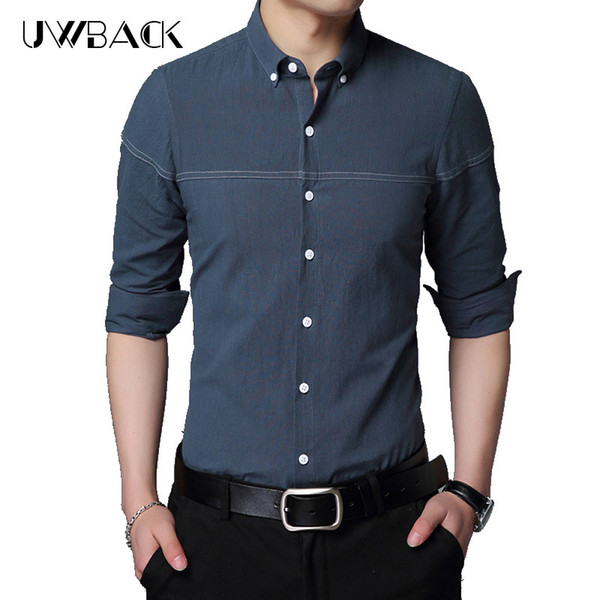Uwback 2018 Autumn Men Casual Shirts Striped Stand Collar Slim Fit Dress Shirts White/Black Long Sleeve Fashion 4XL XA643