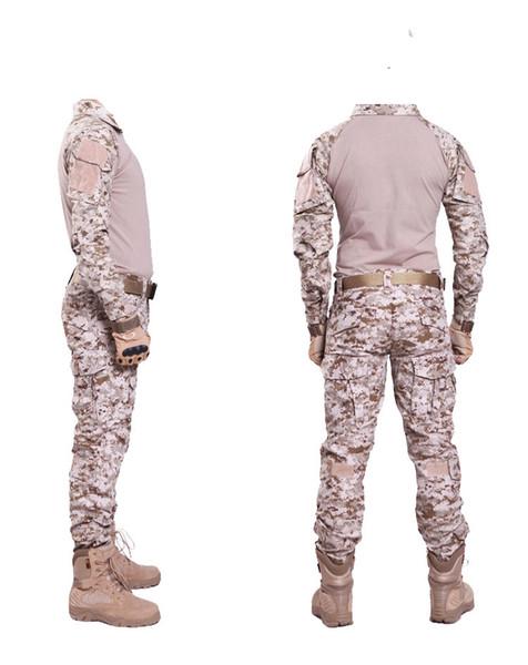 Desert digital camo Jagdbekleidung mit Knieschützer Kampfuniform Tactical Gear Shirt und Hose Armee BDU Set