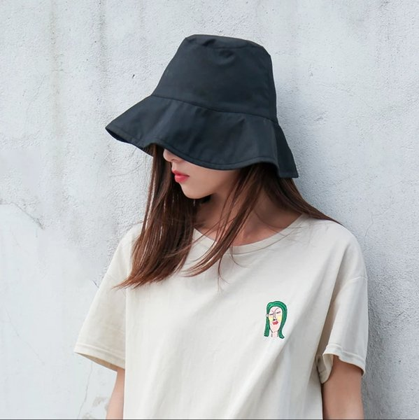 55951251914de 2018 The new listing Pure cotton Bucket hat Women Summer Shade Sun-resistant  Collapsible Sun