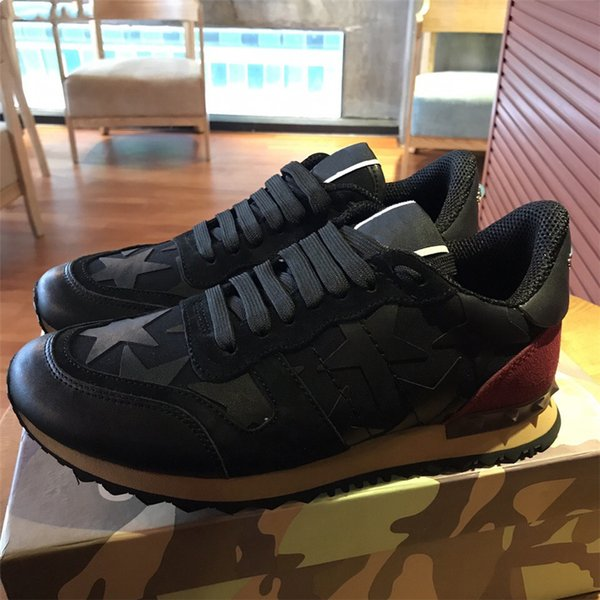 e65bb5d42fb19 Garavani Camouflage Rockrunner Trainer Lace Sneaker Fabric Canvas Leather  Suede Outdoor Running Shoes Sneakers Casual Shoes