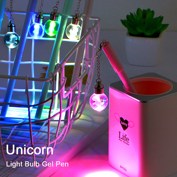 1Pcs Colorful Beautiful Pendant Gel Pen Unicorn & Light Bulb Wish Ball Black Ink Pen Gift Stationery Office School Supplies