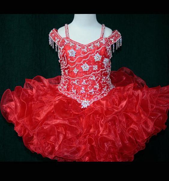 2018 보석 빨간 미니 짧은 꽃 파는 소녀 드레스 공 가운 Organza 페르시 아줌마 옷 입히기 정장을 입고 소녀의 예배당 드레스