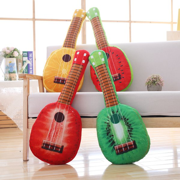 GGS Cartoon Simulation Fruit Orange Strawber Kiwi Watermelon Guitar Sofa Throw Plush Toy Pillow For Boy Girl Gift Hot