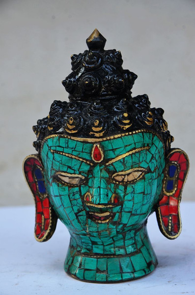UNIQUE CHINESE TURQUOISE HANDWORK CARVED BUDDHA HEAD STATUE>>>Free shipping