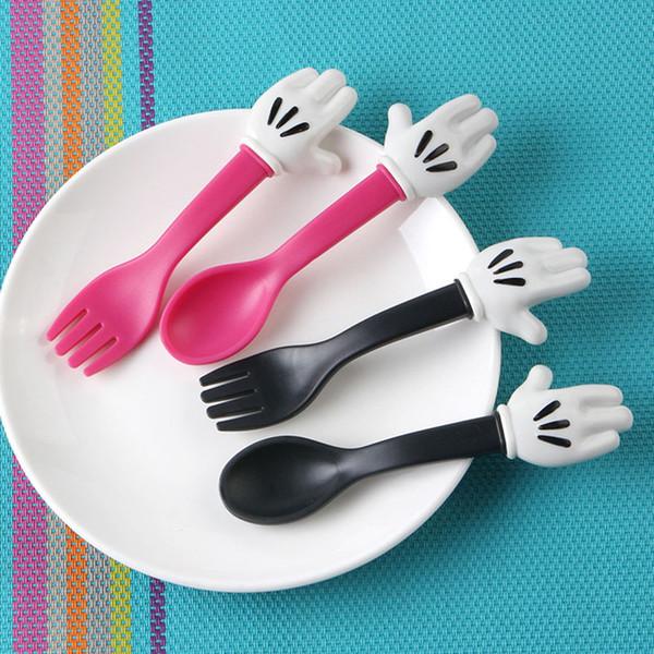 I bambini svegli del cucchiaio della forcella mouse Palm Forma Posate Baby Food Feeding Stoviglie Bambino da tavola di utensili portatili