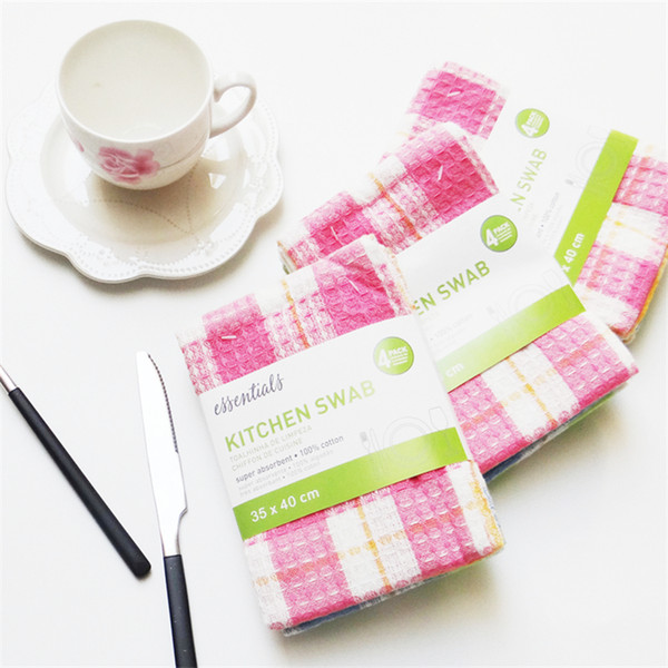 best selling 4pcs high antigrease color napkin dish cloth microfiber washing towel magic kitchen cleaning wiping rags wholesale 3550cm