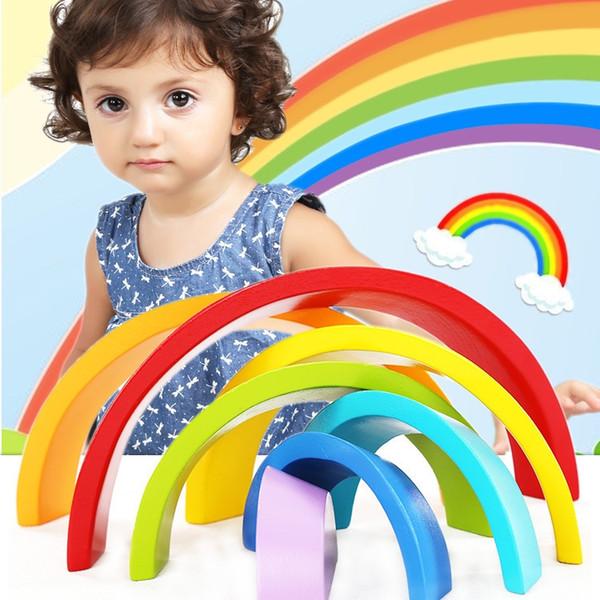 Rainbow Building Blocks Toys Colorful Wood Blocks Arch Bridge For Kids Intelligence Learning Education Toys Christmas Festival Gifts B198