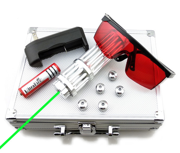 SDLasers GX3-0100 Adjustable Focus 532nm Green Laser Pointer With 1*18650 Battery & 5*Star Cap & Charger & Goggles and Aluminium Box