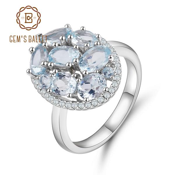 Балет натуральный голубой топаз кольца подлинной 100% стерлингового серебра 925 старинные ювелирные изделия для женщин обручальное S18101002