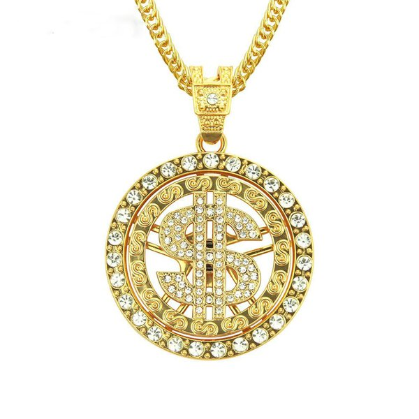 Round Dollar Sign Pendant Necklace Can Rotate Iced Out Full Zircon Alloy Gold Silver Color Plated Street Style Hip Hop Jewelry
