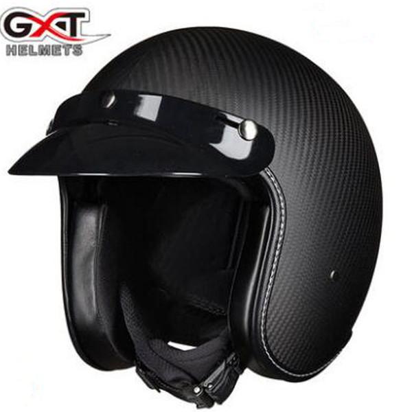 New GXT Carbon Fiber Vintage Harley Motorcycle Helmets Open face 3/4 Helmets Half cover DOT approved Motorbike helmet