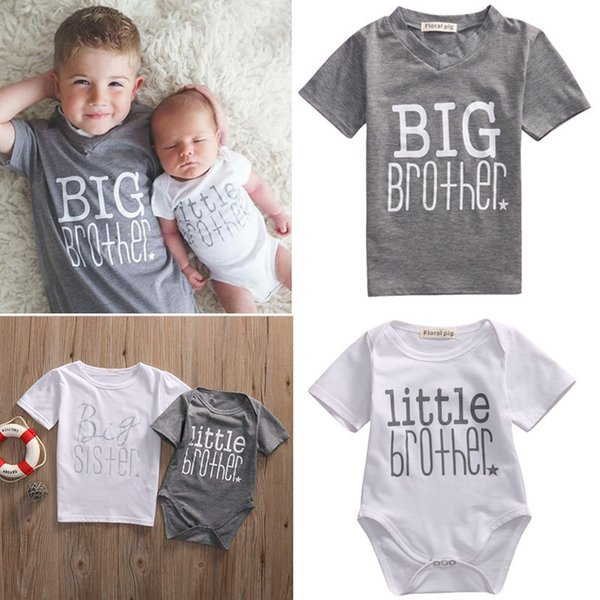 best selling Family Matching Clothes Baby Kids T-shirt Romper for Boy Girl Little Brother Big Brother Little Sister Big Sister Cotton Baby Jumpsuits