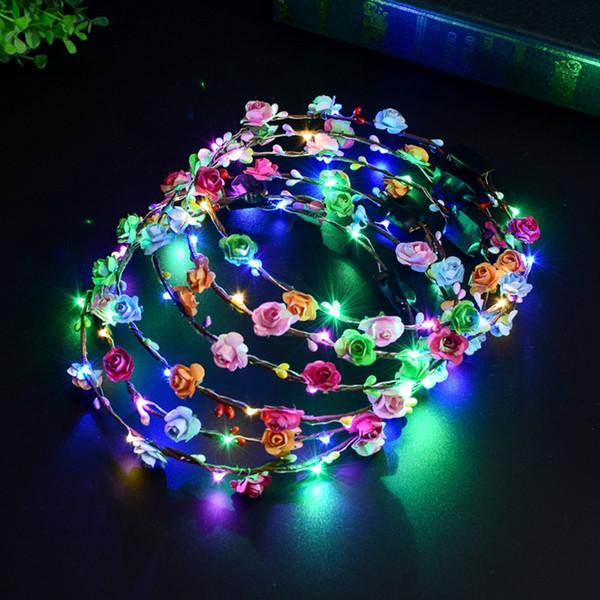 Clignotant LED Glow Fleur Couronne Bandeaux jouets De Mariage Partie De Noël Femmes Filles LED Allumer Fleur Douce Princesse Guirlande Guirlande