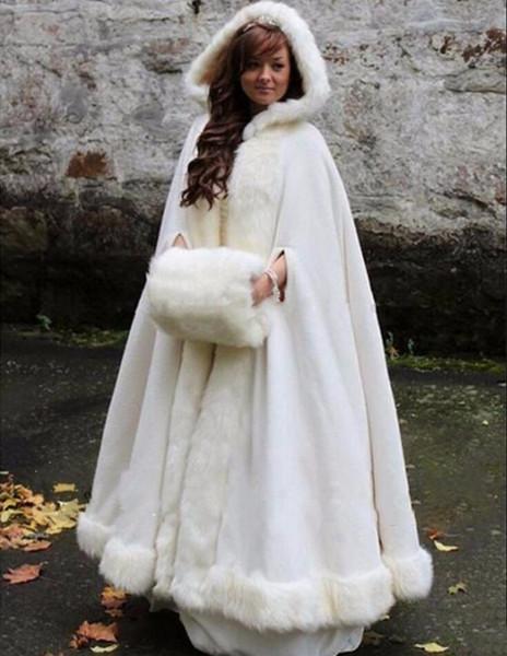 Copricapo da sposa bianco / avorio con mantella da sposa con cappuccio in pelliccia sintetica caldo inverno per adulti inverno avvolge / mantelle / poncho