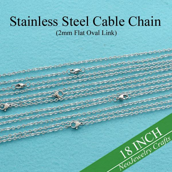 50 pcs - 18 Inch Stainless Steel Rolo Chain, Stainless Cable Chain, 18'' Steel 2mm Flat Oval Link Plain Chain