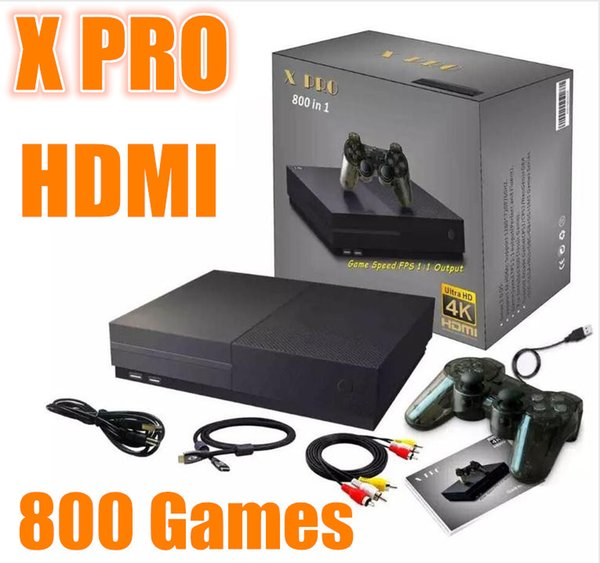2018 Hot X Pro Game Console Pre-installed 800 Classical Games 64 Bit 4K HDMI AV-out Ultra-Larger Capacity Support TF Card Game Console