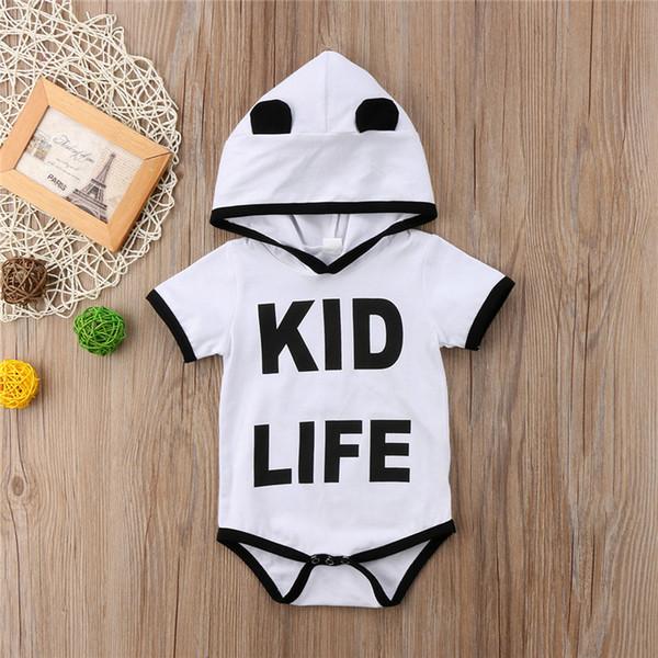 Newborn baby girl boy clothes hooded romper onesies letter print jumpsuit kid clothing child adorable bodysuit sunsuit playsuit toddler