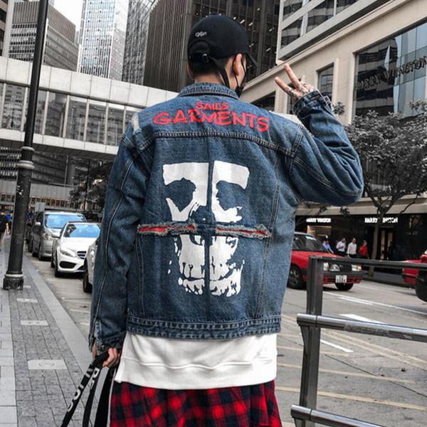 Drop Shipping Jeans Rock Homens Jaqueta de Algodão Pessoa Impressão Craniana Hip Hop Streetwear Streetwear Hip Hop Preto EUA Tamanho S-XL