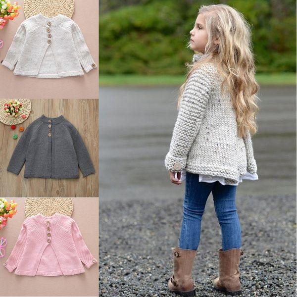 Baby Girls Cardigans Knitwear Children Cloak Type Outwear Long Sleeve Kids Knitted Sweater Coat Winter Warm Swallow Tail Gray Pink Color