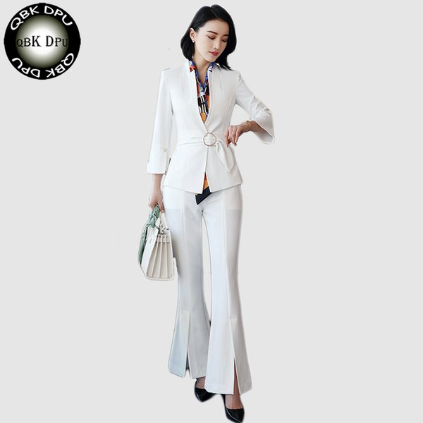 2018 New Women Pant Suit Office Uniform Designs Formal Ladies Business Career Wear white Blazer With Trouser For Work S-4XL