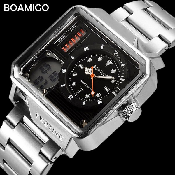 Mens Sports Watches BOAMIGO Brand Digital Watches For Men Fashion Rectangle Wristwatches 30m Waterproof Stainless Steel Watch