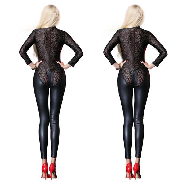 Sexy negro Mesh Jumpsuit Catsuit de látex de cuero de imitación Body Zipper entrepierna abierta PVC Leotardo monos Fetish Gothic Costumes