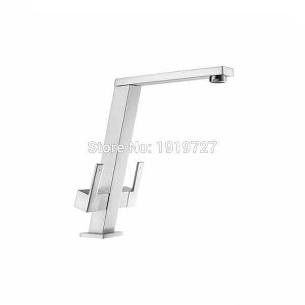 Patent Design 360 Swivel 100% Solid Brass High Quality Country Square Style Kitchen Bar Faucet With Double Metal Lever Handles