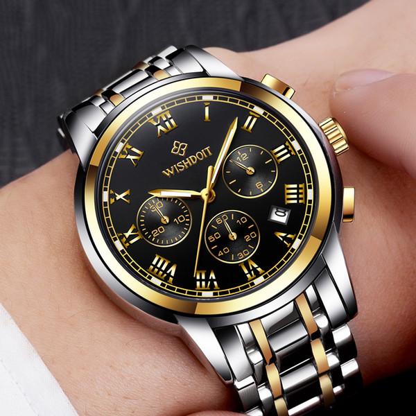 b33f0c3c0289 WISHDOIT Hombres Relojes de Negocios Deporte Moda Casual Impermeable  Hombres Reloj de Cuarzo Reloj Masculino reloj