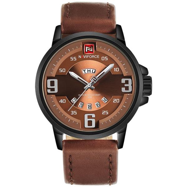 Homens Relógio Do Esporte DAVIFORCE Marca Homens Relógio De Quartzo 30 M Pulseira De Couro À Prova D 'Água Rose Gold Auto Data Relógios de Pulso Relogio masculino