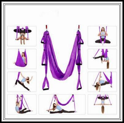 18 farben 250 * 150 cm luft fliegen yoga hängematte aerial yoga hängematte gürtel fitness schaukel hängematte mit 440lb laden cca9761 6 stücke