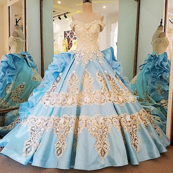 2019 Evening Dresses Satin Beading Sequined Appliques Ball Gown Off The Shoulder Blue Queen Long Party Formal Dresses Real Photos