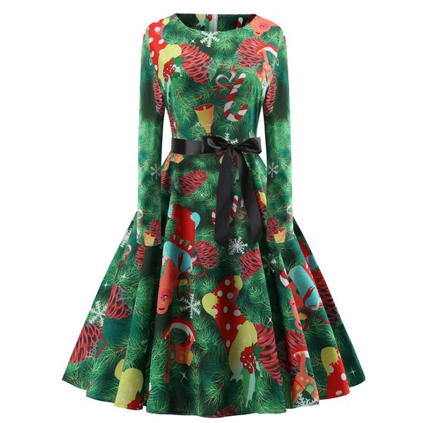 Print Party Dresses for Teens Christmas Vintage Dress High Waist Black Silk Ribbon Casual Pleated Dresses