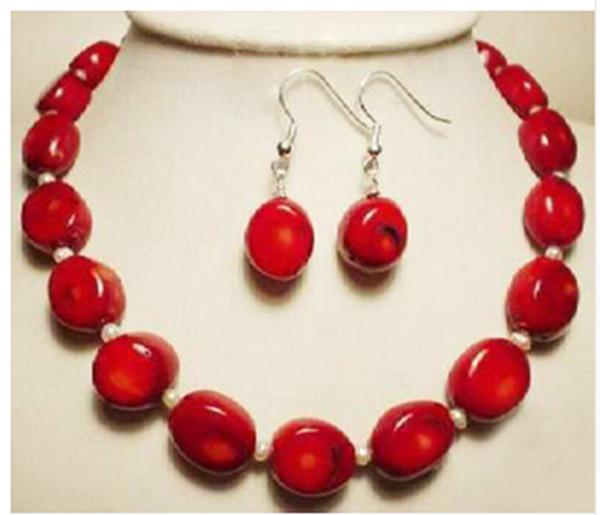 мода белый жемчуг натуральный красный коралл ожерелье серьги белый набор 18 дюймов