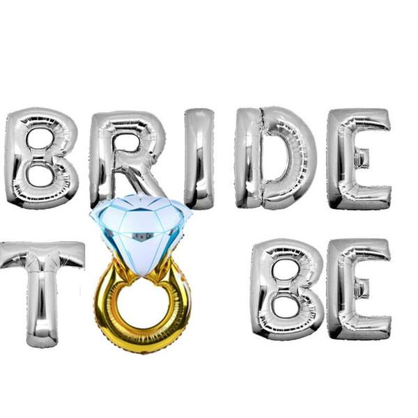 16 Inches Aluminum Foil Balloon Bride To Be Diamond Ring Air Balloons English Letter Wedding Decor Airballoon Hot Sale 5 2ak BB